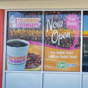 Dunkin Donuts see-thru window decals